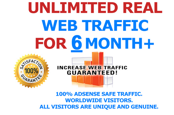6 MONTH Unlimited Keyword and Country Targeted Real Visitors Traffic to Website