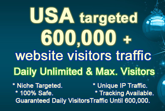 USA Targeted 600,000 600K+ Real Organic and Unique Visitors Traffic to Website