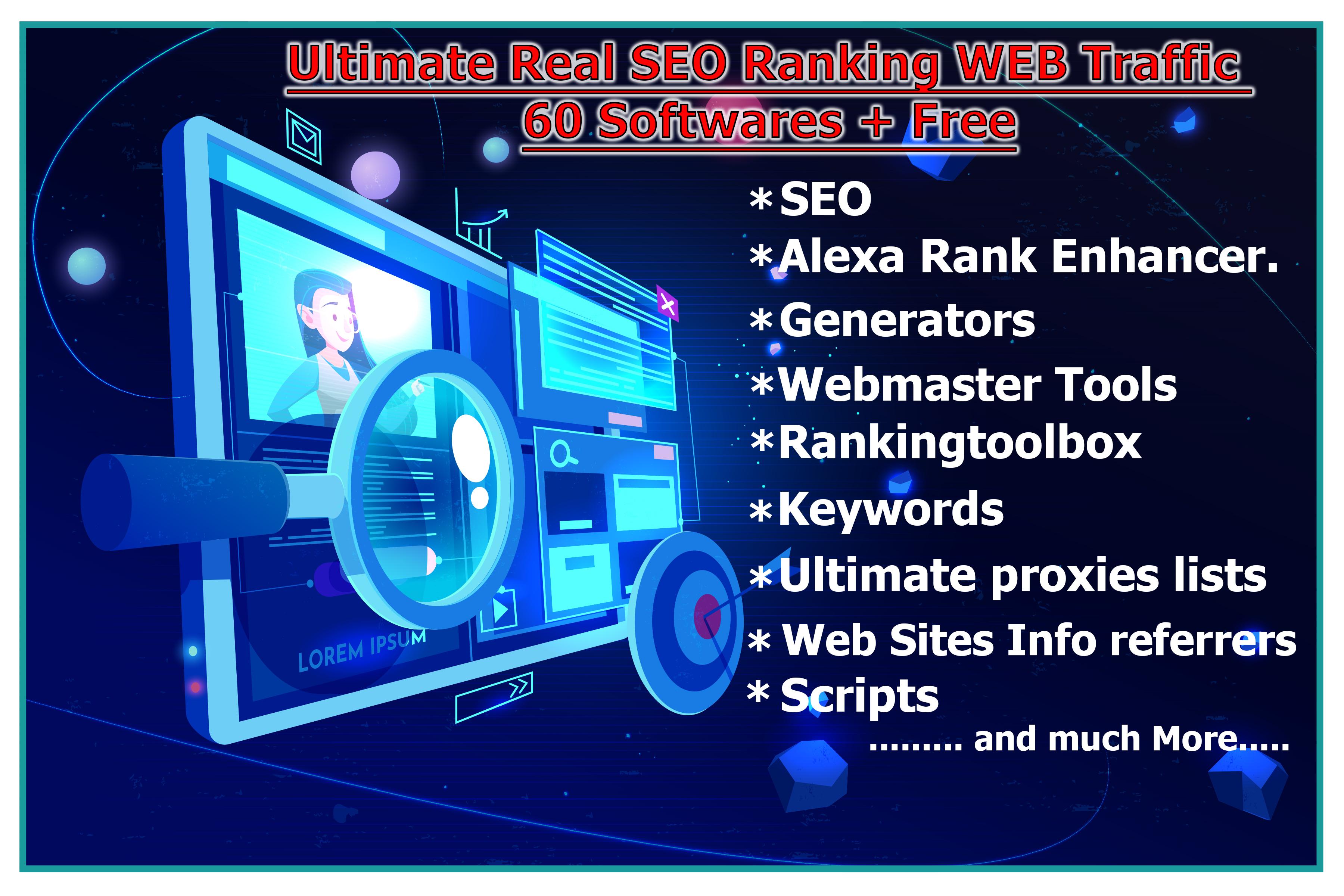 Ultimate Real SEO Ranking WEB Traffic 60 Softwares + Free