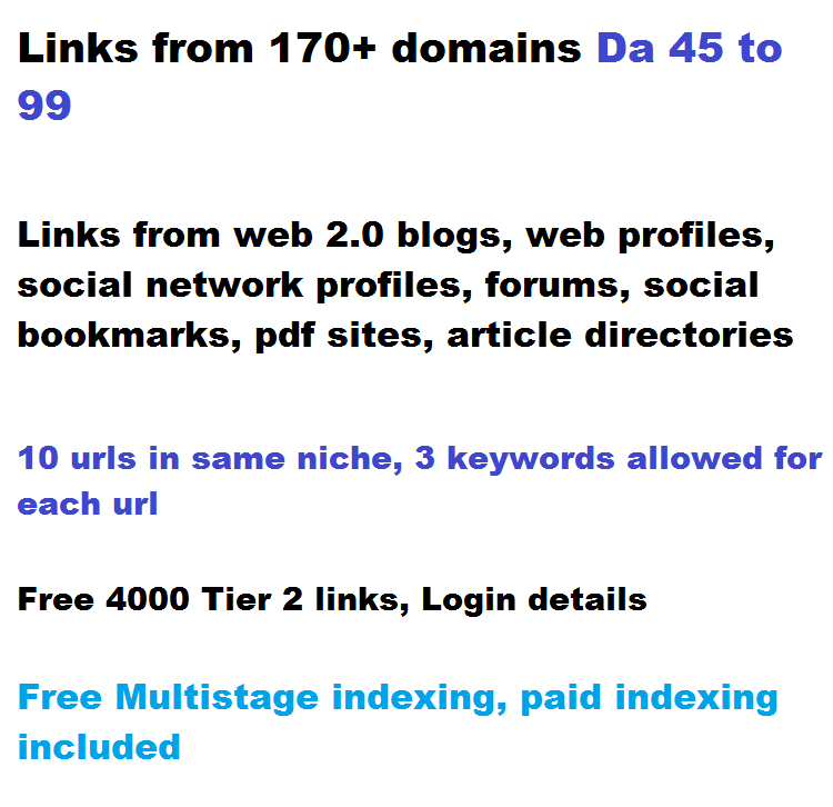 270+ High Authority links,  DA 45 to 99,  2 tiered from 170 domains