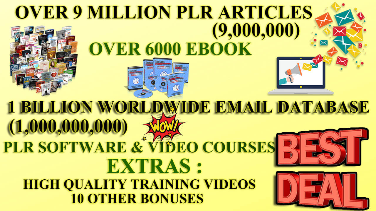 I Will Give You 9 Million Plr/mrr Articles 6000 Ebooks,  1 Billion Email Database for 1