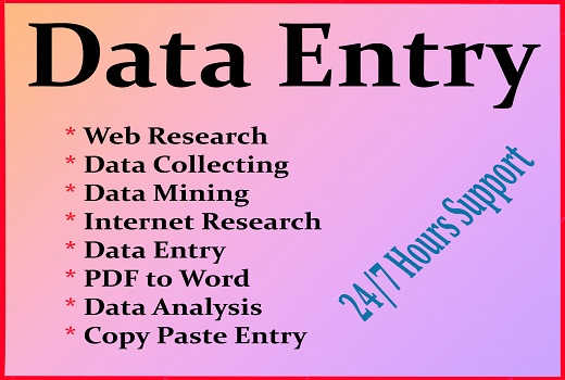 I will do web research,  email finding,  data entry,  web scraping