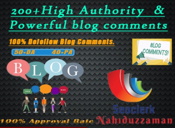 I Will Do 200+ High Authority and Powerful Dofollow Blog Comments.