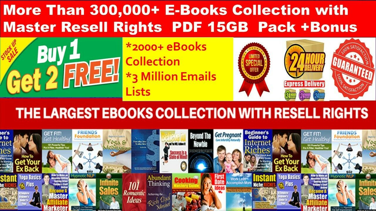 300,000+ E Books PLR Collection with MRR PDF+2000 Ebooks +3 Million Emails lists