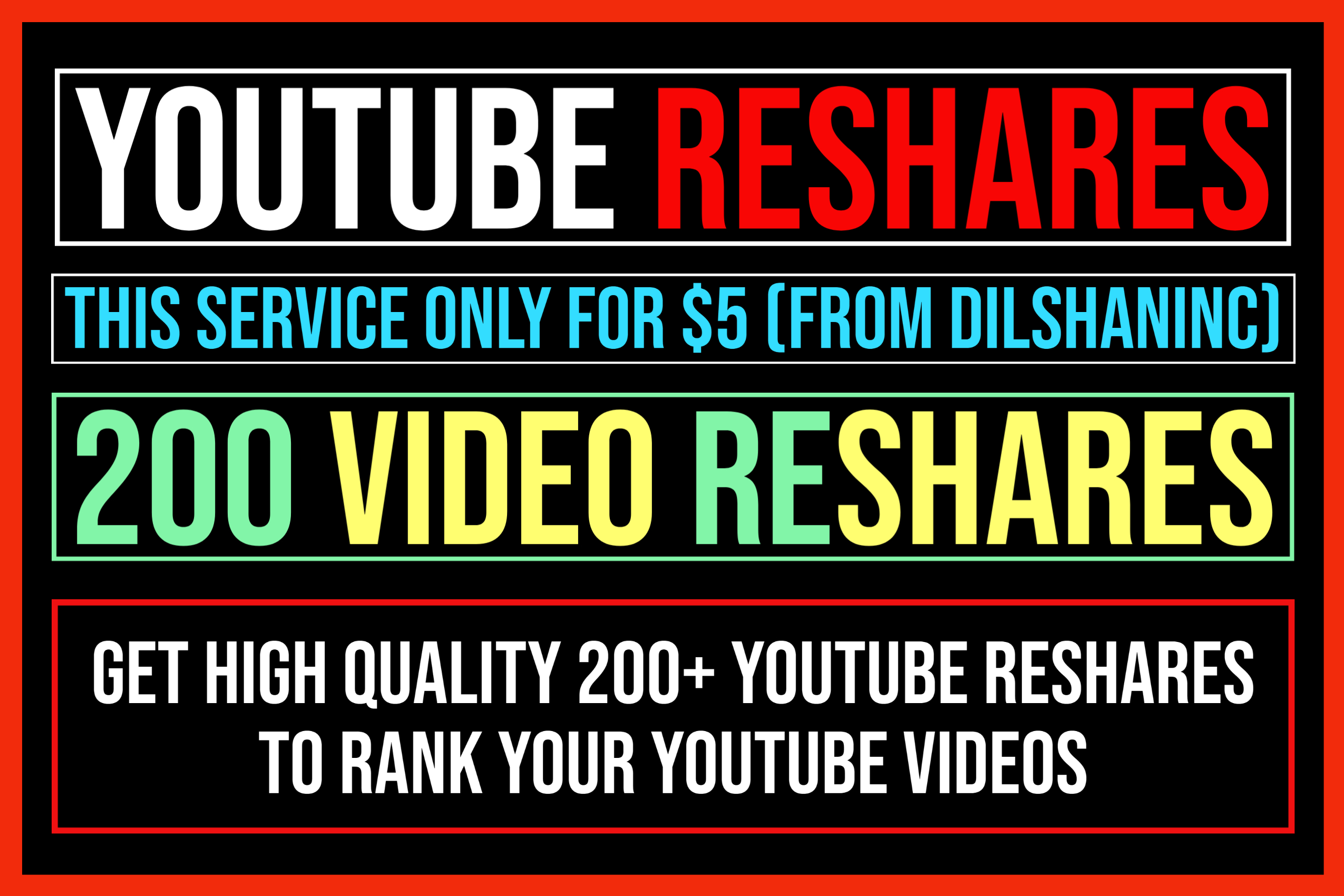 Create 200 YouTube Reshares To Get Rank On YouTube