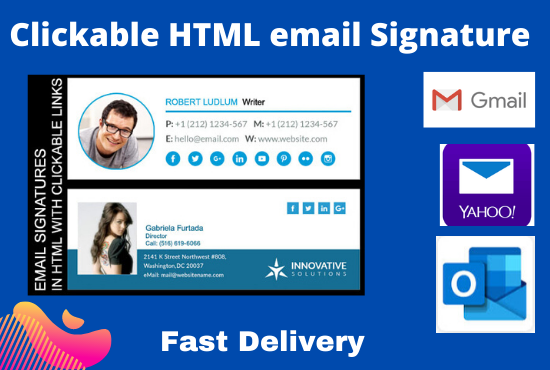 I will create HTML email signature or clickable email signature