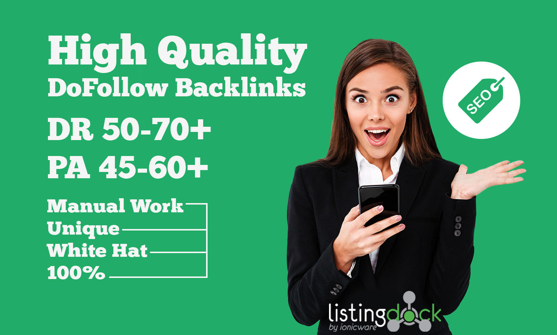 I will do 50 manual high authority quality contextual seo dofollow backlinks link building