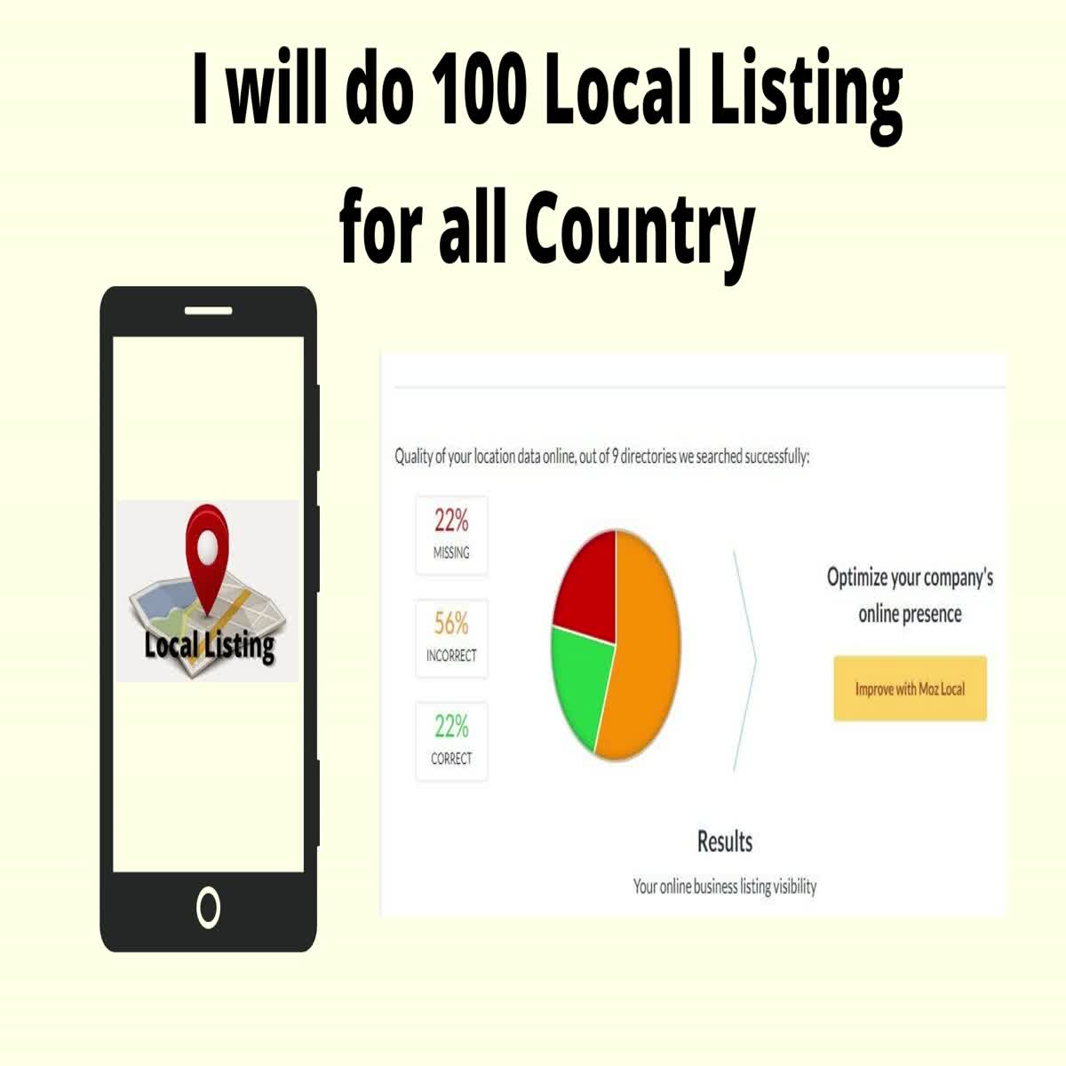 I will do 100 local listing on top directories for all country
