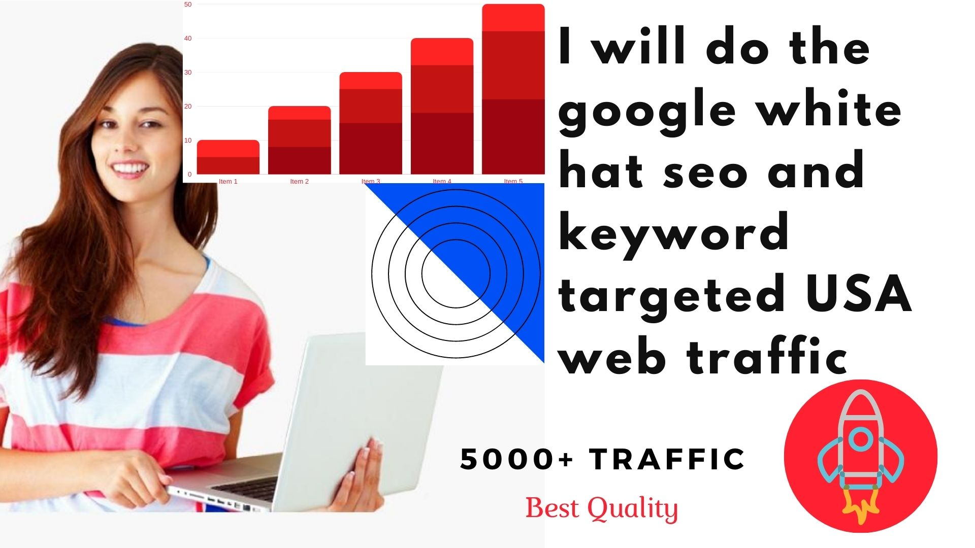 I will do the google white hat seo and keyword targeted 5000+ USA web traffic