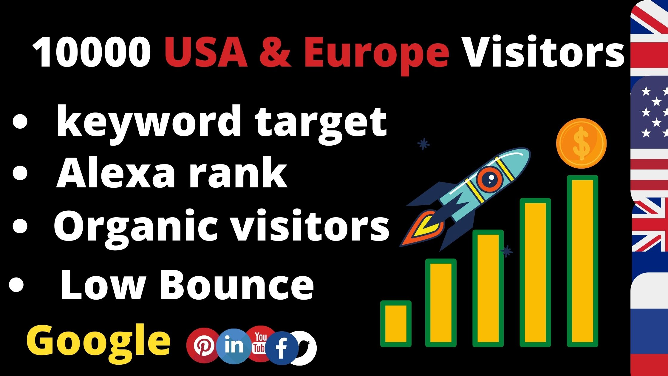 Drive 10000 keyword target usa & Europe Traffic for your website