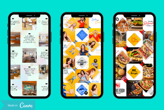 I will design Instagram post,  puzzle feed,  Facebook post,  and templates using canva