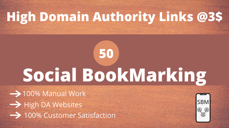 I will do social bookmarking on 50 high da websites
