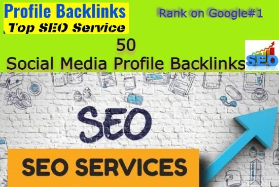 I Will Create 50 HQ Social Media Profiles SEO backlinks