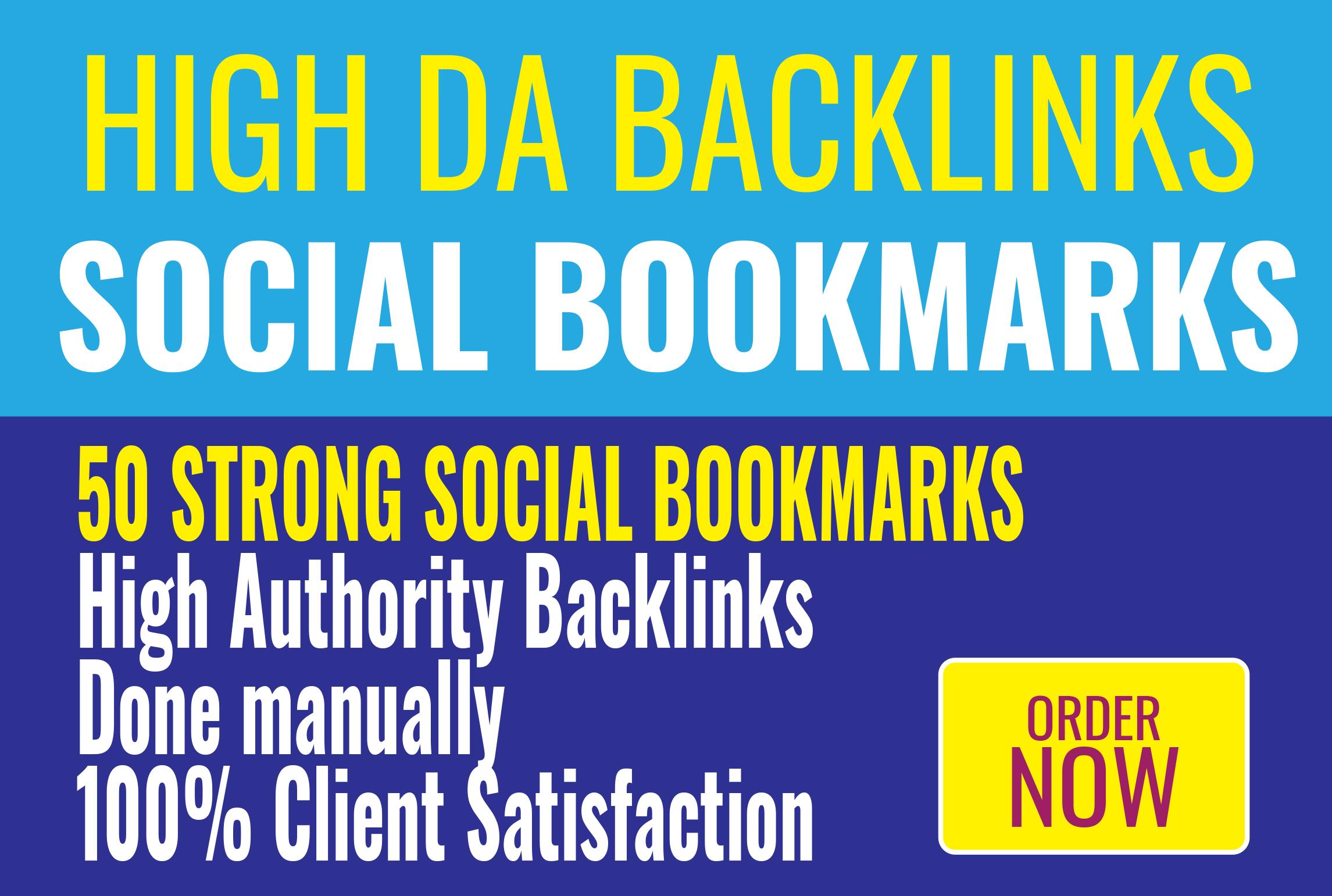 50 very strong bookmarks high DA backlinks best linkbuilding service