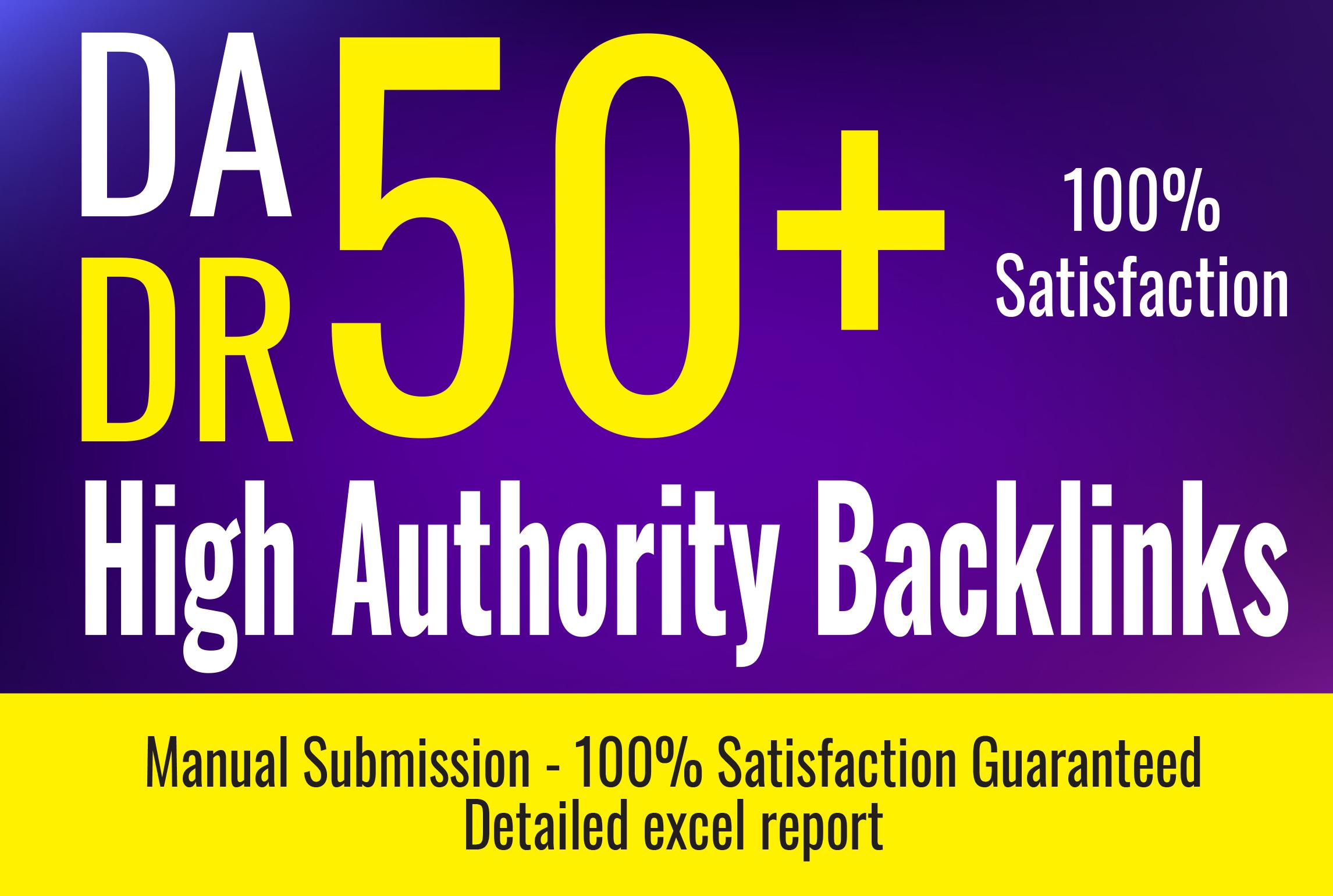 Best 50 high authority dofollow backlinks DA 50+ manually