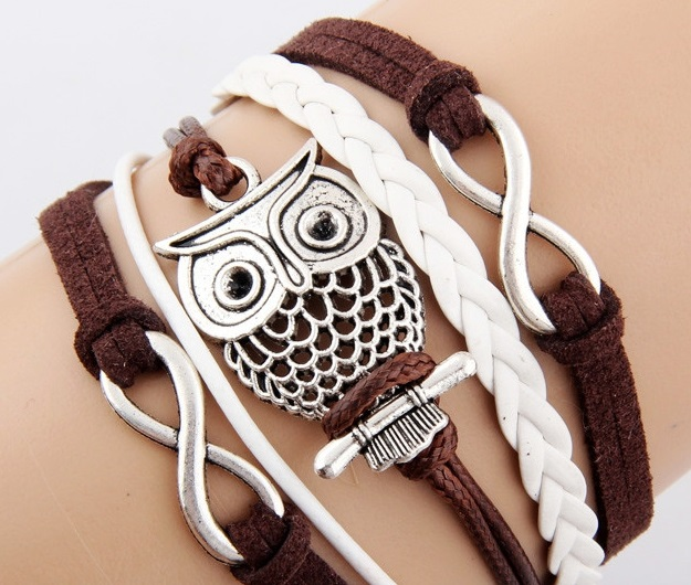 Owl Infinity Brown and White Bracelet