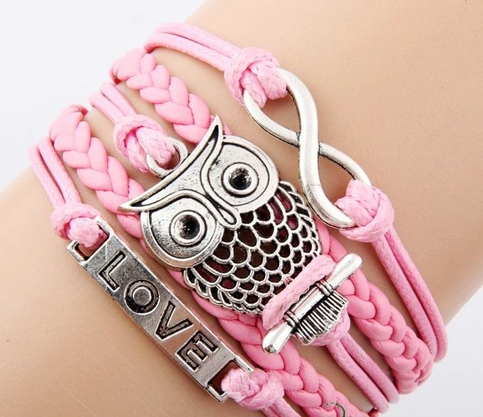 nfinity silver bracelet,  Owl silver bracelet,  Love bracelet