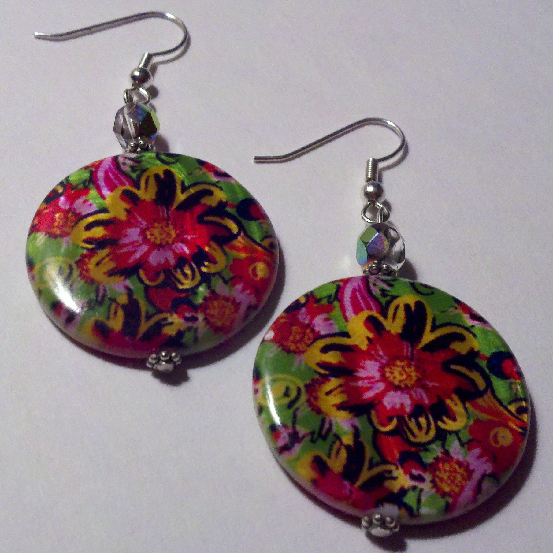 Tropical Print shell bead earrings