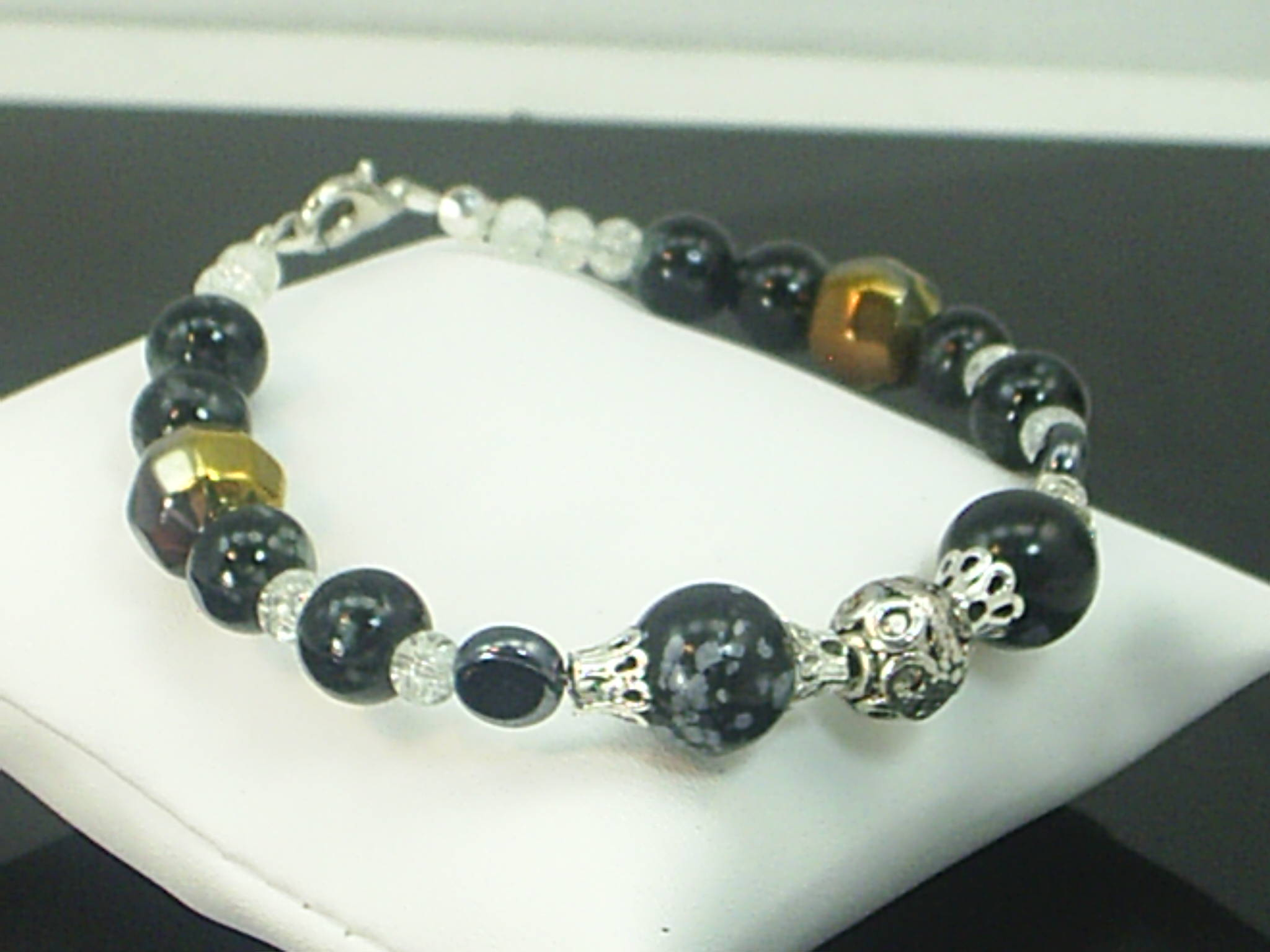 Snowflake Obsidian Gemstone Bracelet Spiritual Metaphysical Wiccan X2443