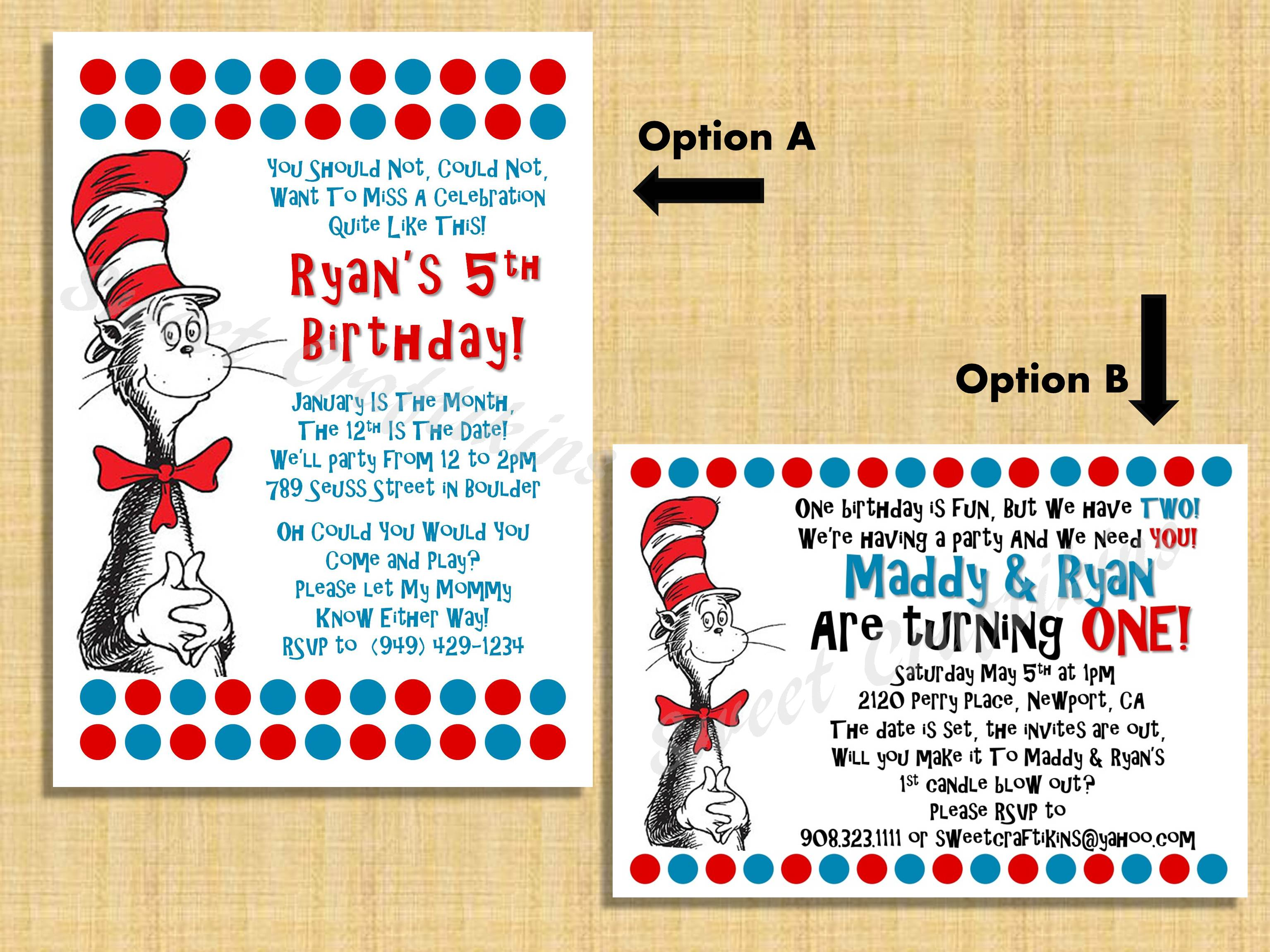 Seuss Birthday Shower Invitation Custom Invite