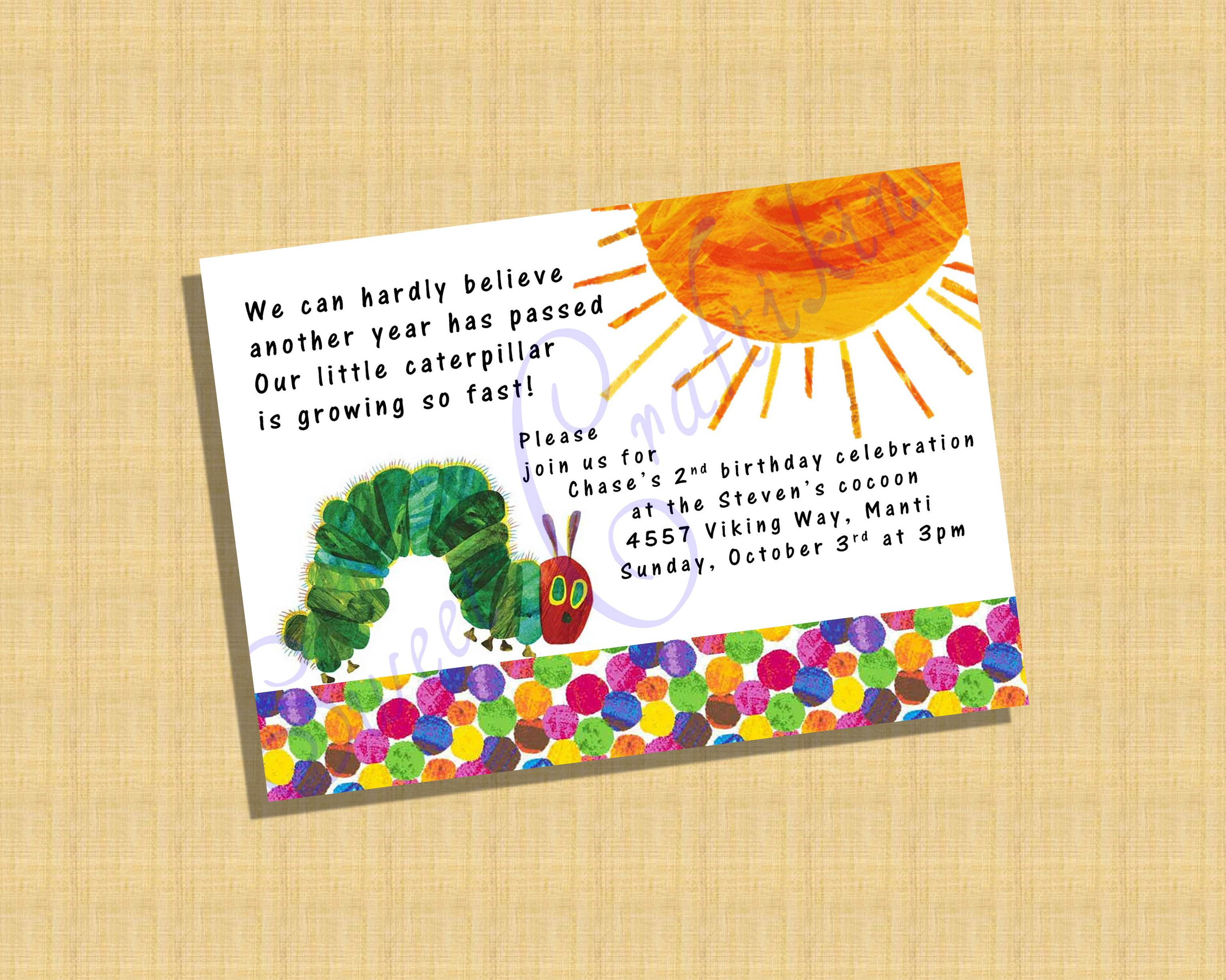 Very Hungry Catapillar Invitation - VHC Baby Shower Invite
