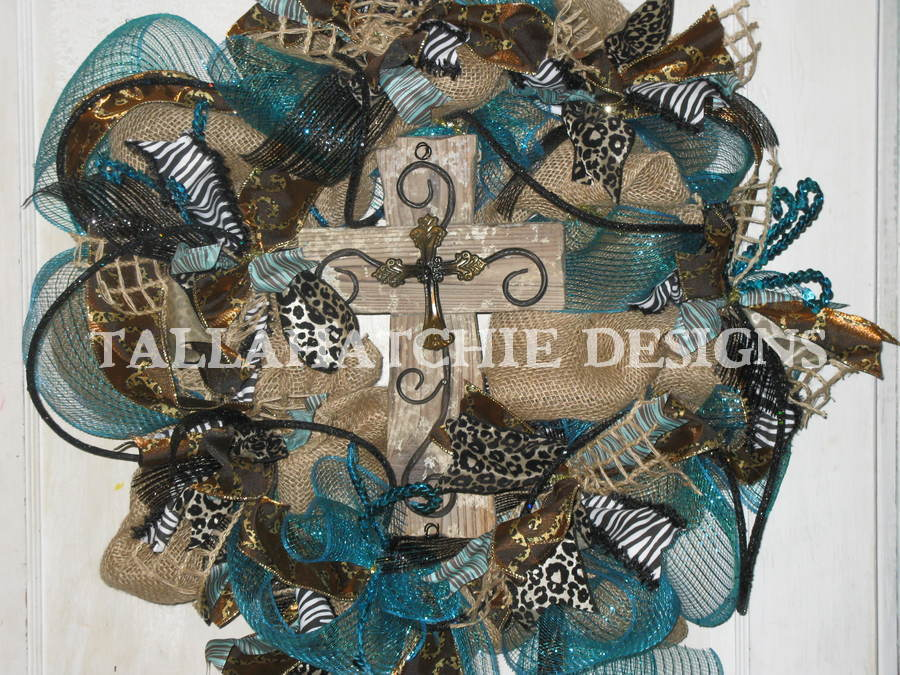 Burlap And Turquoise Deco Mesh Wreath