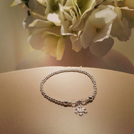 925 Sterling Silver Stackable Bracelet with Snowflake Charm