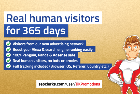 send real human TRAFFIC to your website for 365 days