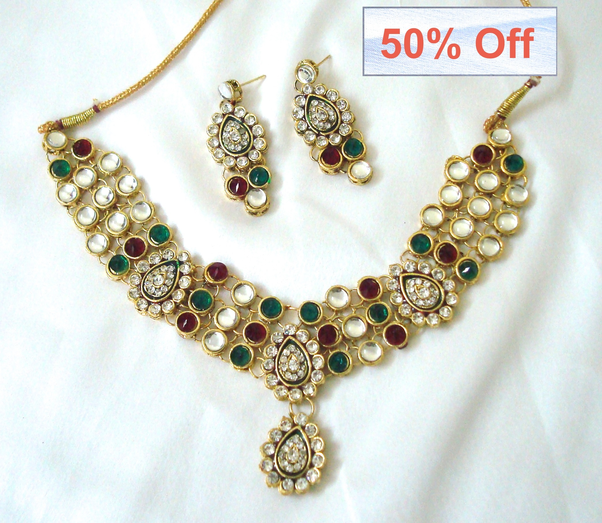 50 off on Indian Kundan Necklace with matching earrings