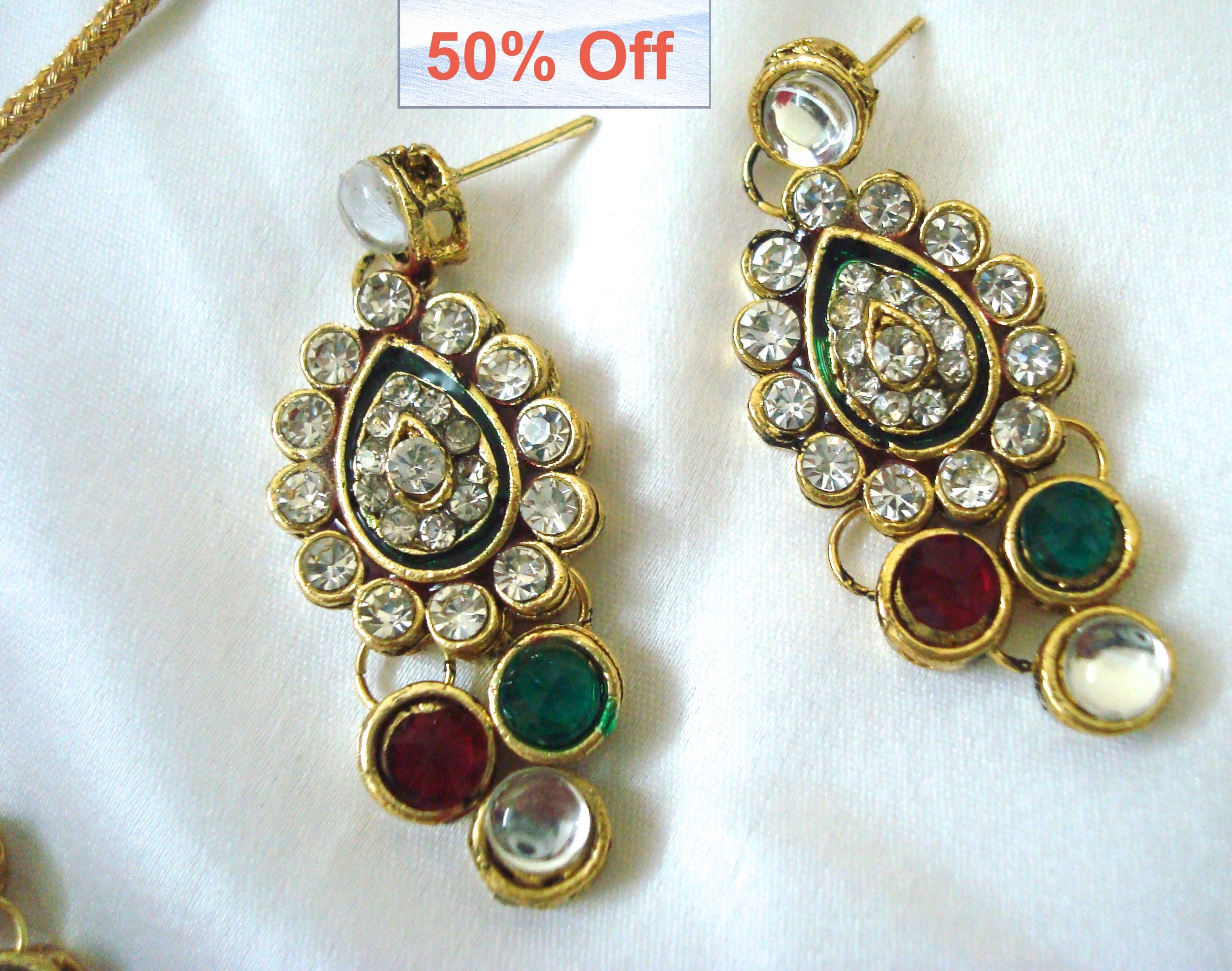 50 % off on Indian Kundan Necklace with matching earrings