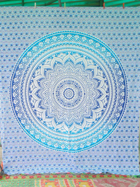 BLUE PRINTED QUEEN SIZE WALL TAPESTRY-BOHO MANDALA TAPESTRIES
