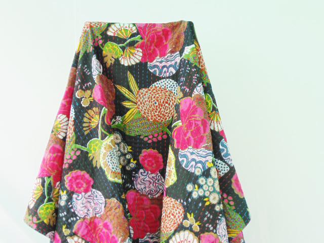 Black floral kantha Quilt