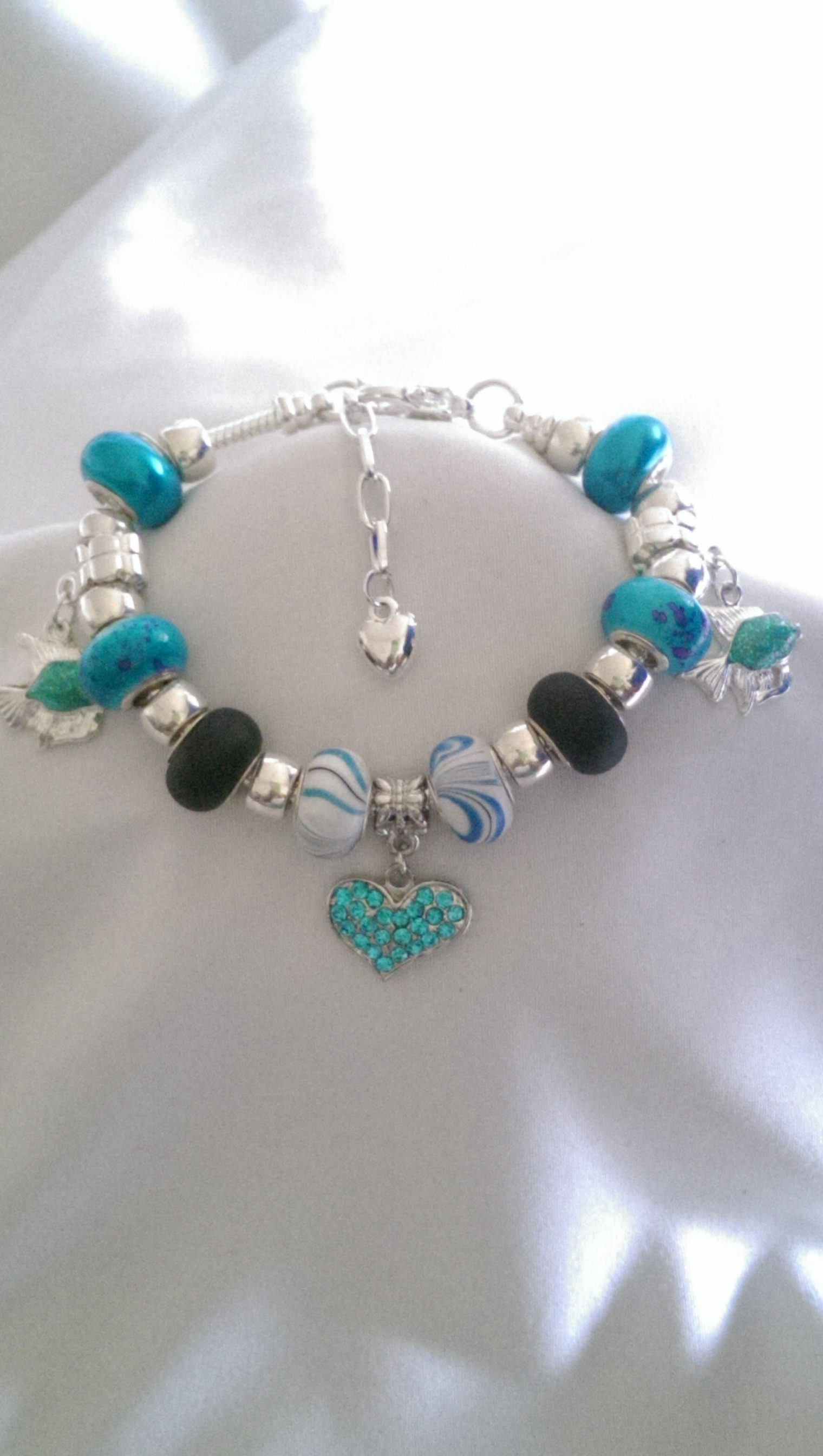 Under The Sea Blue/Silver Fish Charm Bracelet