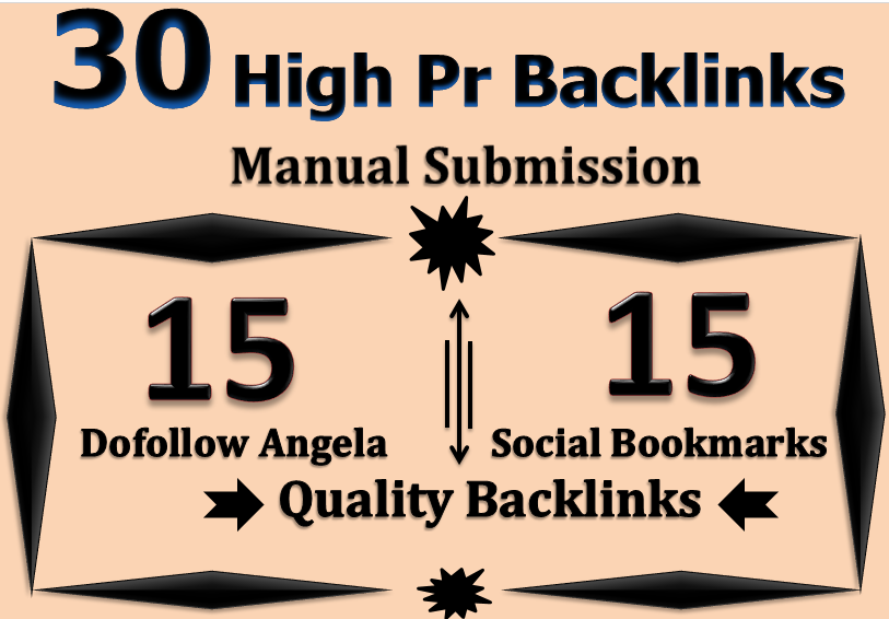 I will manually create 30 High Pr Backlinks