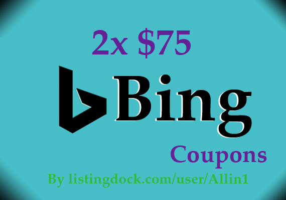 I will sell Bing 2X75USD voucher or coupon 2016