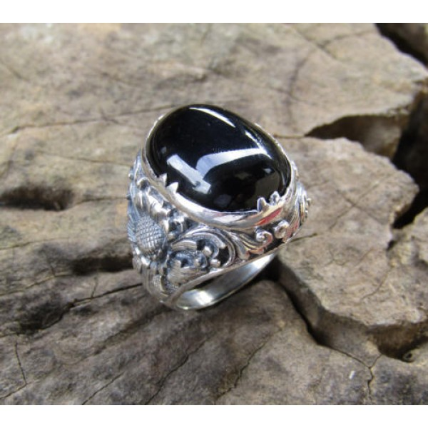 Silver ring flower motif patra bali stone carving blackonyx