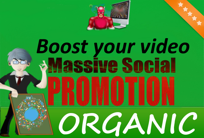 Do MASSIVE Youtube Video Organic Social and Embeds Promotion to get you organic views, likes and comments