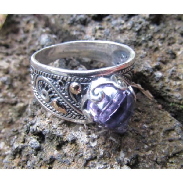 ring stone silver leaf motif bun amethys 100484