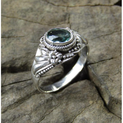 Silver ring carving handmade with blue topaz 100363