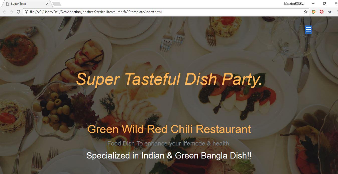 restaurant website in responsive