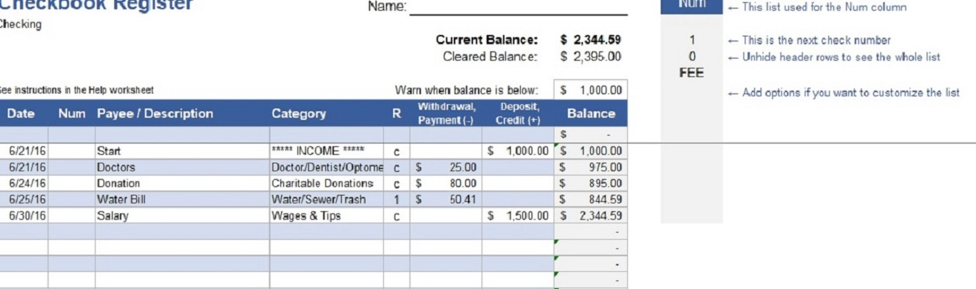 provide you with an easy checkbook to get your finances in order