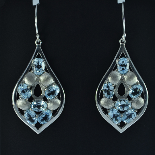 Blue Topaz Dangle Earrings Sterling Silver Earrings