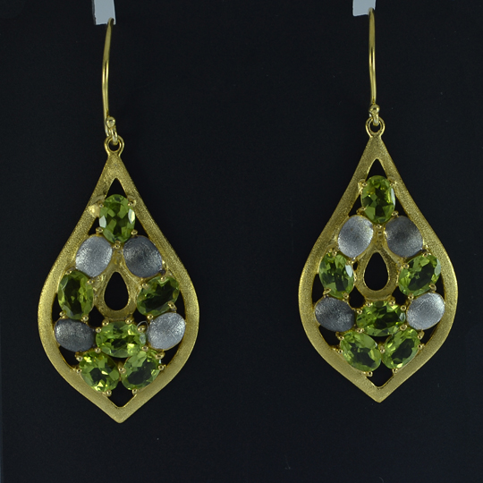 Peridot Dangle Earrings Sterling Silver For