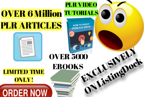8,000,000 PLR Articles,  5000 Ebooks and PLR Video Tutorial