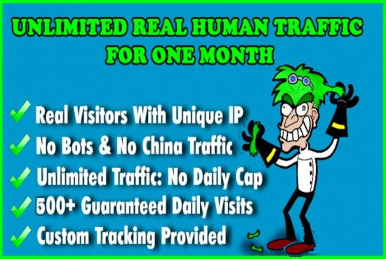 Send unlimited human traffic by google and many more to a website for 30 days