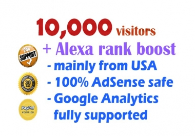 10,000 visitors to your site plus Alexa rank boost