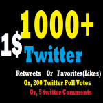 Start Instant 1000+ Twitter Re-tweets Or Likes within 1-12 hrs