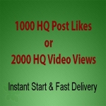 Instant 1000 High Quality Social Post Likes or Video Views