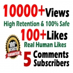10000 GR views + 100+ Likes + 5 Real comments Youtube video SeoPromotion