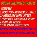 UNLIMITED ORGANIC TRAFFIC BY 10 QUORA ANSWER WITH IN 12 HOURS